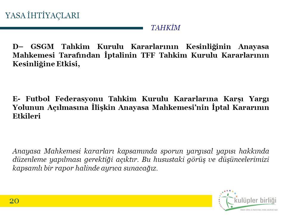 20 D– GSGM Tahkim Kurulu Kararlarının Kesinliğinin Anayasa Mahkemesi Tarafından İptalinin TFF Tahkim Kurulu Kararlarının Kesinliğine Etkisi, E- Futbol