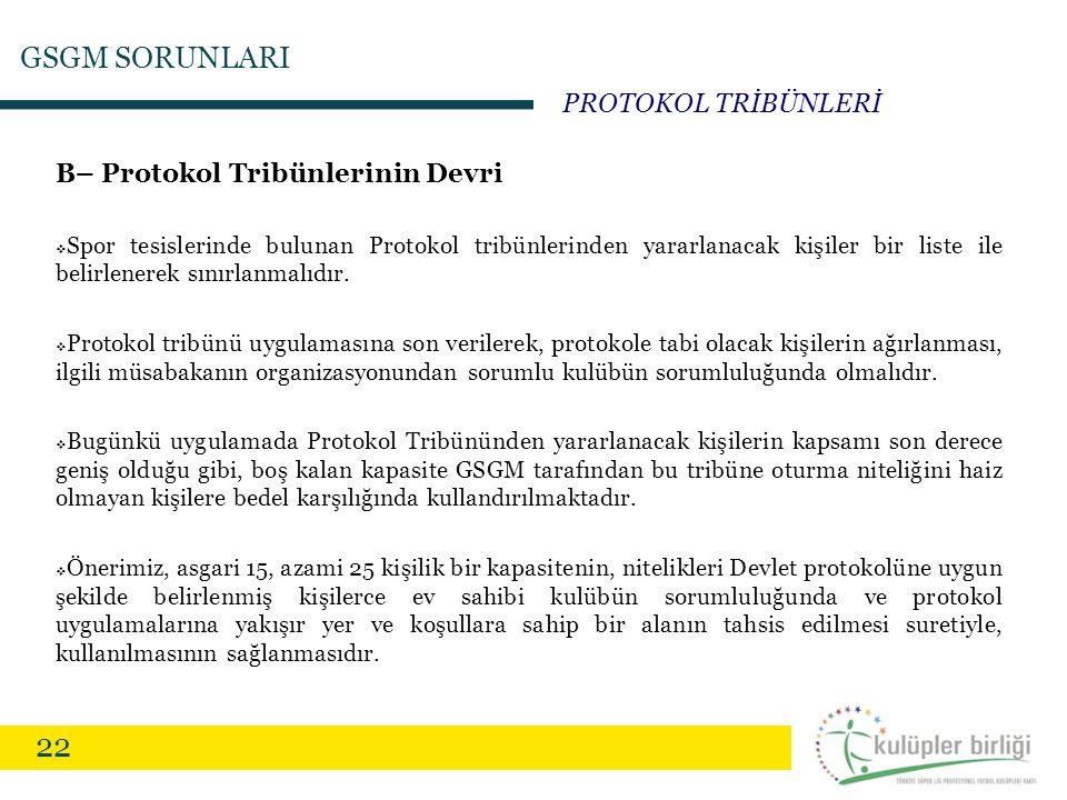 22 B– Protokol Tribünlerinin Devri  Spor tesislerinde bulunan Protokol tribünlerinden yararlanacak kişiler bir liste ile belirlenerek sınırlanmalıdır