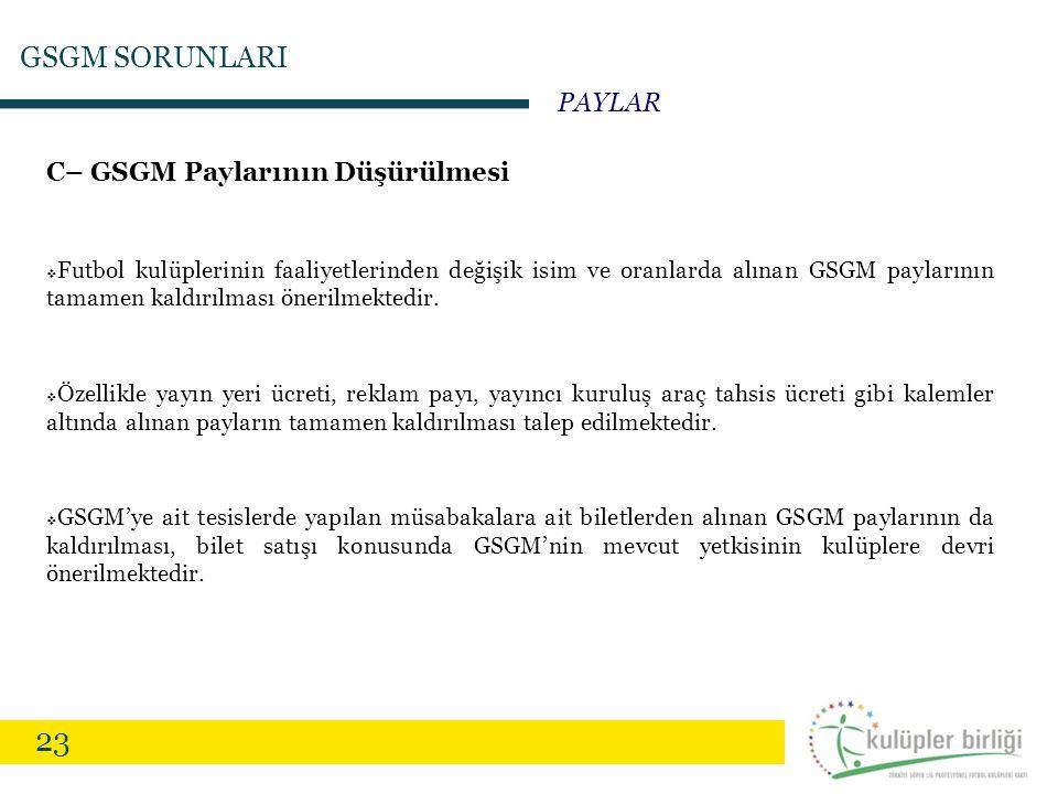 23 C– GSGM Paylarının Düşürülmesi  Futbol kulüplerinin faaliyetlerinden değişik isim ve oranlarda alınan GSGM paylarının tamamen kaldırılması önerilm