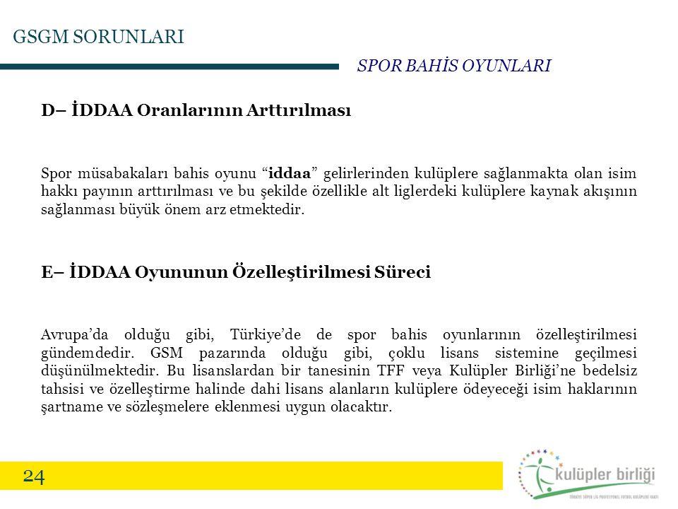 """24 D– İDDAA Oranlarının Arttırılması Spor müsabakaları bahis oyunu """"iddaa"""" gelirlerinden kulüplere sağlanmakta olan isim hakkı payının arttırılması ve"""