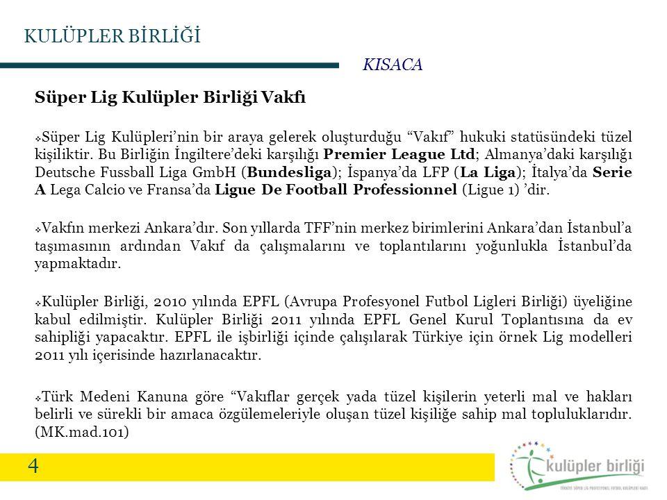 """4 Süper Lig Kulüpler Birliği Vakfı  Süper Lig Kulüpleri'nin bir araya gelerek oluşturduğu """"Vakıf"""" hukuki statüsündeki tüzel kişiliktir. Bu Birliğin İ"""