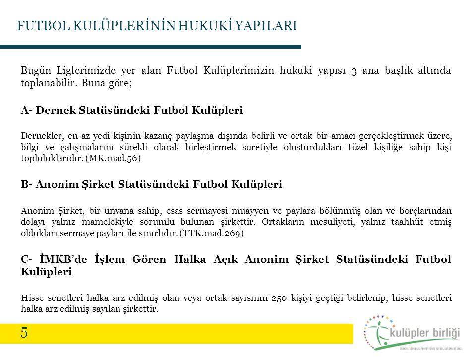 5 FUTBOL KULÜPLERİNİN HUKUKİ YAPILARI Bugün Liglerimizde yer alan Futbol Kulüplerimizin hukuki yapısı 3 ana başlık altında toplanabilir. Buna göre; A-