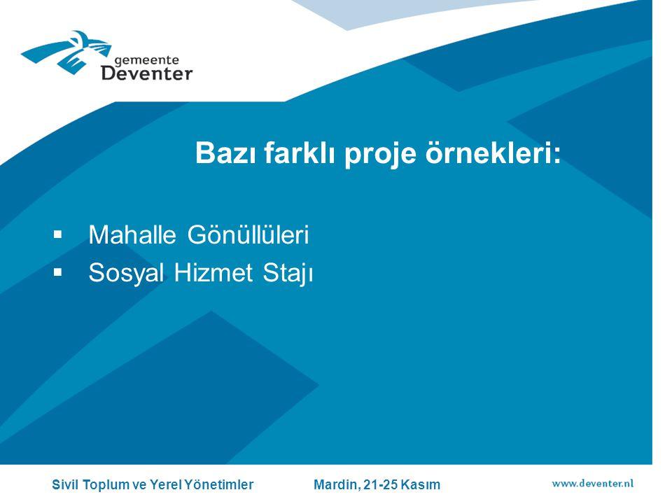 Bazı farklı proje örnekleri:  Mahalle Gönüllüleri  Sosyal Hizmet Stajı Sivil Toplum ve Yerel Yönetimler Mardin, 21-25 Kasım