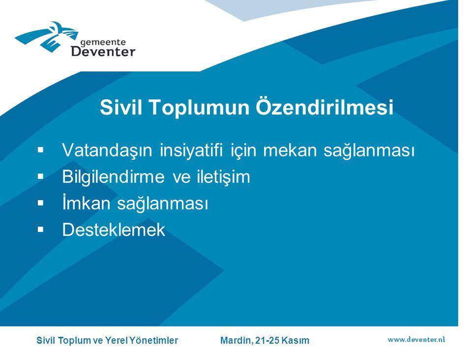 Sivil Toplumun Özendirilmesi  Vatandaşın insiyatifi için mekan sağlanması  Bilgilendirme ve iletişim  İmkan sağlanması  Desteklemek Sivil Toplum ve Yerel Yönetimler Mardin, 21-25 Kasım