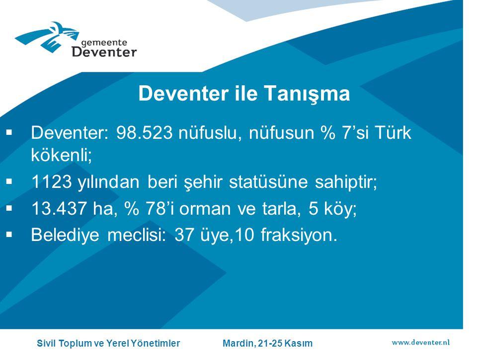 Deventer ile Tanışma  Deventer: 98.523 nüfuslu, nüfusun % 7'si Türk kökenli;  1123 yılından beri şehir statüsüne sahiptir;  13.437 ha, % 78'i orman ve tarla, 5 köy;  Belediye meclisi: 37 üye,10 fraksiyon.