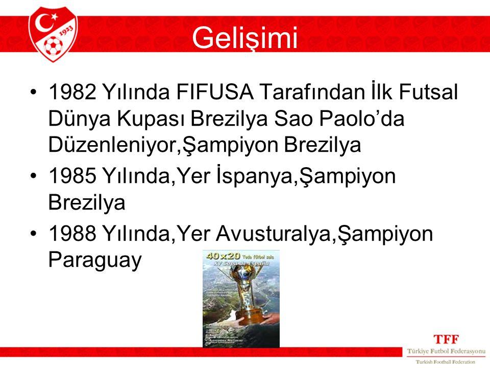 Gelişimi 1982 Yılında FIFUSA Tarafından İlk Futsal Dünya Kupası Brezilya Sao Paolo'da Düzenleniyor,Şampiyon Brezilya 1985 Yılında,Yer İspanya,Şampiyon Brezilya 1988 Yılında,Yer Avusturalya,Şampiyon Paraguay