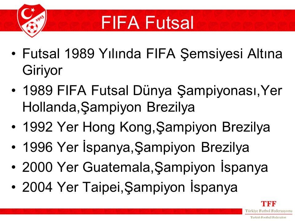FIFA Futsal Futsal 1989 Yılında FIFA Şemsiyesi Altına Giriyor 1989 FIFA Futsal Dünya Şampiyonası,Yer Hollanda,Şampiyon Brezilya 1992 Yer Hong Kong,Şampiyon Brezilya 1996 Yer İspanya,Şampiyon Brezilya 2000 Yer Guatemala,Şampiyon İspanya 2004 Yer Taipei,Şampiyon İspanya