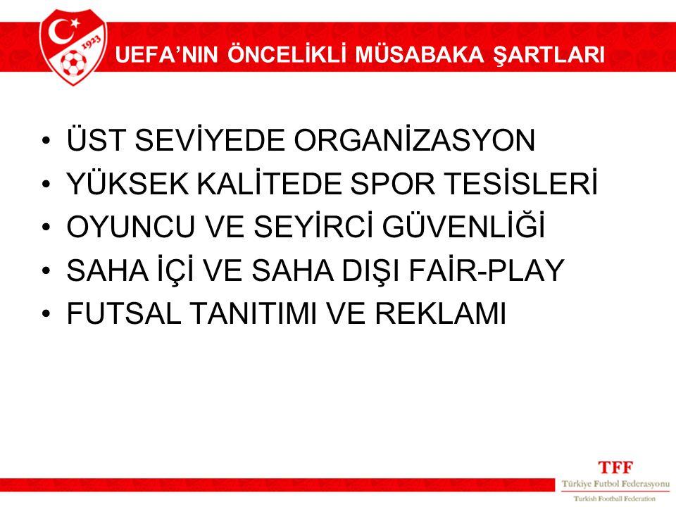 UEFA'NIN ÖNCELİKLİ MÜSABAKA ŞARTLARI ÜST SEVİYEDE ORGANİZASYON YÜKSEK KALİTEDE SPOR TESİSLERİ OYUNCU VE SEYİRCİ GÜVENLİĞİ SAHA İÇİ VE SAHA DIŞI FAİR-P