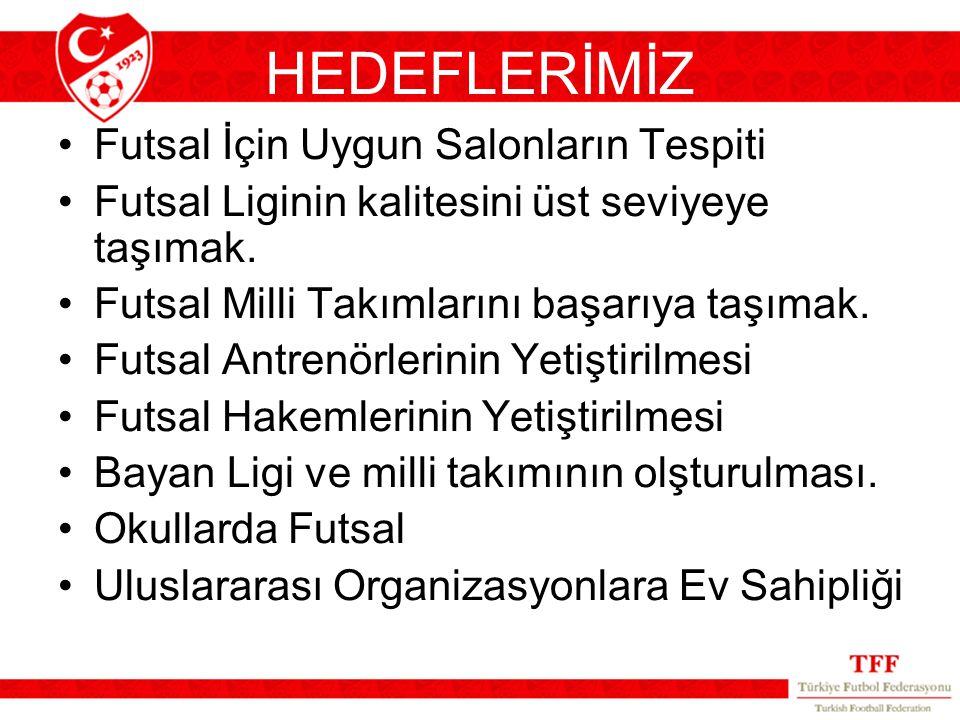 HEDEFLERİMİZ Futsal İçin Uygun Salonların Tespiti Futsal Liginin kalitesini üst seviyeye taşımak. Futsal Milli Takımlarını başarıya taşımak. Futsal An
