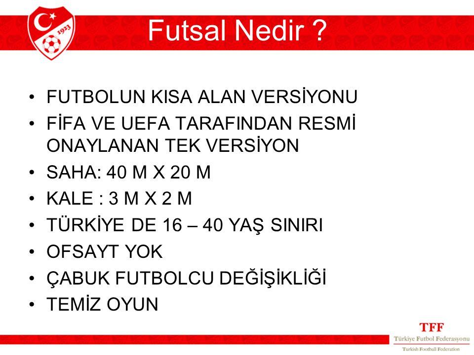 Futsal Nedir ? FUTBOLUN KISA ALAN VERSİYONU FİFA VE UEFA TARAFINDAN RESMİ ONAYLANAN TEK VERSİYON SAHA: 40 M X 20 M KALE : 3 M X 2 M TÜRKİYE DE 16 – 40