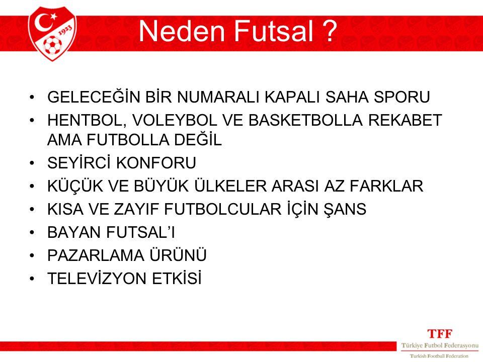 Neden Futsal ? GELECEĞİN BİR NUMARALI KAPALI SAHA SPORU HENTBOL, VOLEYBOL VE BASKETBOLLA REKABET AMA FUTBOLLA DEĞİL SEYİRCİ KONFORU KÜÇÜK VE BÜYÜK ÜLK