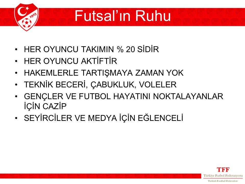 Futsal'ın Ruhu HER OYUNCU TAKIMIN % 20 SİDİR HER OYUNCU AKTİFTİR HAKEMLERLE TARTIŞMAYA ZAMAN YOK TEKNİK BECERİ, ÇABUKLUK, VOLELER GENÇLER VE FUTBOL HA