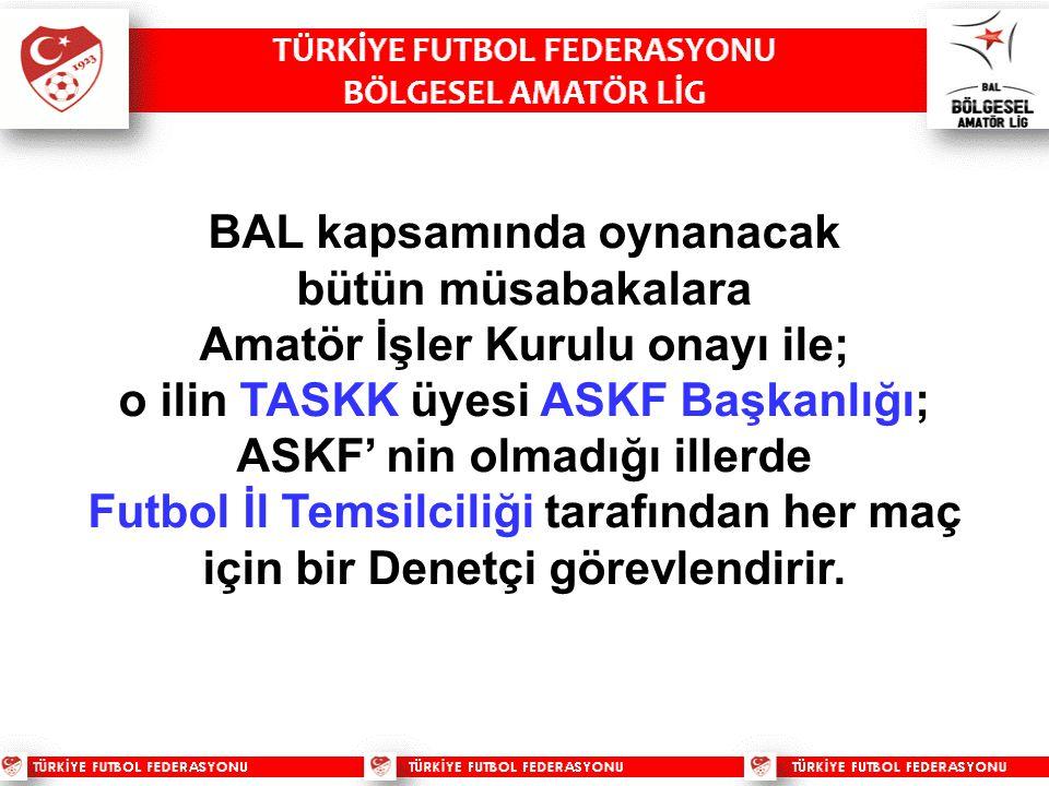 BAL kapsamında oynanacak bütün müsabakalara Amatör İşler Kurulu onayı ile; o ilin TASKK üyesi ASKF Başkanlığı; ASKF' nin olmadığı illerde Futbol İl Temsilciliği tarafından her maç için bir Denetçi görevlendirir.
