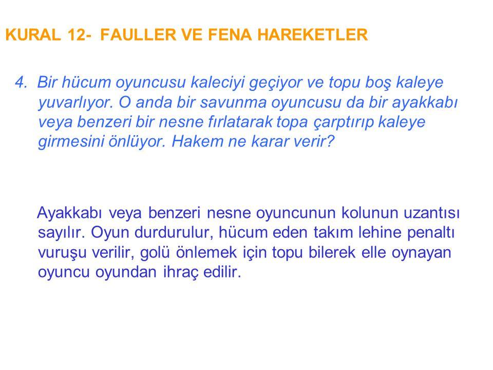 KURAL 12- FAULLER VE FENA HAREKETLER 4. Bir hücum oyuncusu kaleciyi geçiyor ve topu boş kaleye yuvarlıyor. O anda bir savunma oyuncusu da bir ayakkabı
