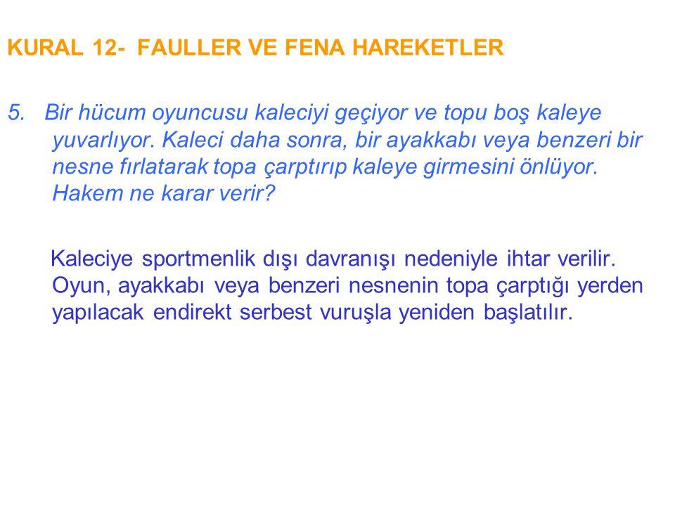 KURAL 12- FAULLER VE FENA HAREKETLER 5. Bir hücum oyuncusu kaleciyi geçiyor ve topu boş kaleye yuvarlıyor. Kaleci daha sonra, bir ayakkabı veya benzer