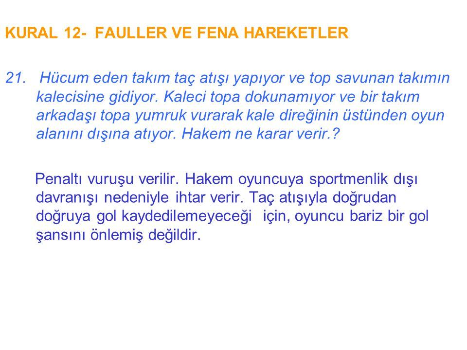 KURAL 12- FAULLER VE FENA HAREKETLER 21. Hücum eden takım taç atışı yapıyor ve top savunan takımın kalecisine gidiyor. Kaleci topa dokunamıyor ve bir