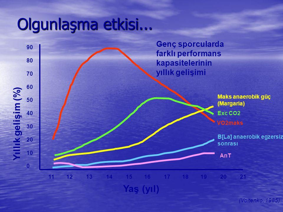 Olgunlaşma etkisi... 90 80 70 60 50 40 30 20 10 0 Yıllık gelişim (%) 11 12 13 14 15 16 17 18 19 20 21 Yaş (yıl) (Voitenko, 1985) Genç sporcularda fark