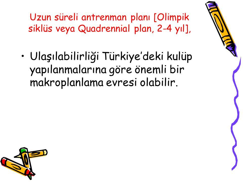 Uzun süreli antrenman planı [Olimpik siklüs veya Quadrennial plan, 2-4 yıl], Ulaşılabilirliği Türkiye'deki kulüp yapılanmalarına göre önemli bir makro
