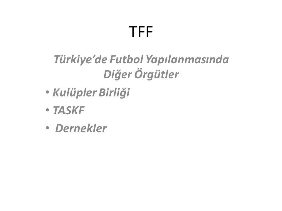 TFF Türkiye'de Futbol Yapılanmasında Diğer Örgütler Kulüpler Birliği TASKF Dernekler