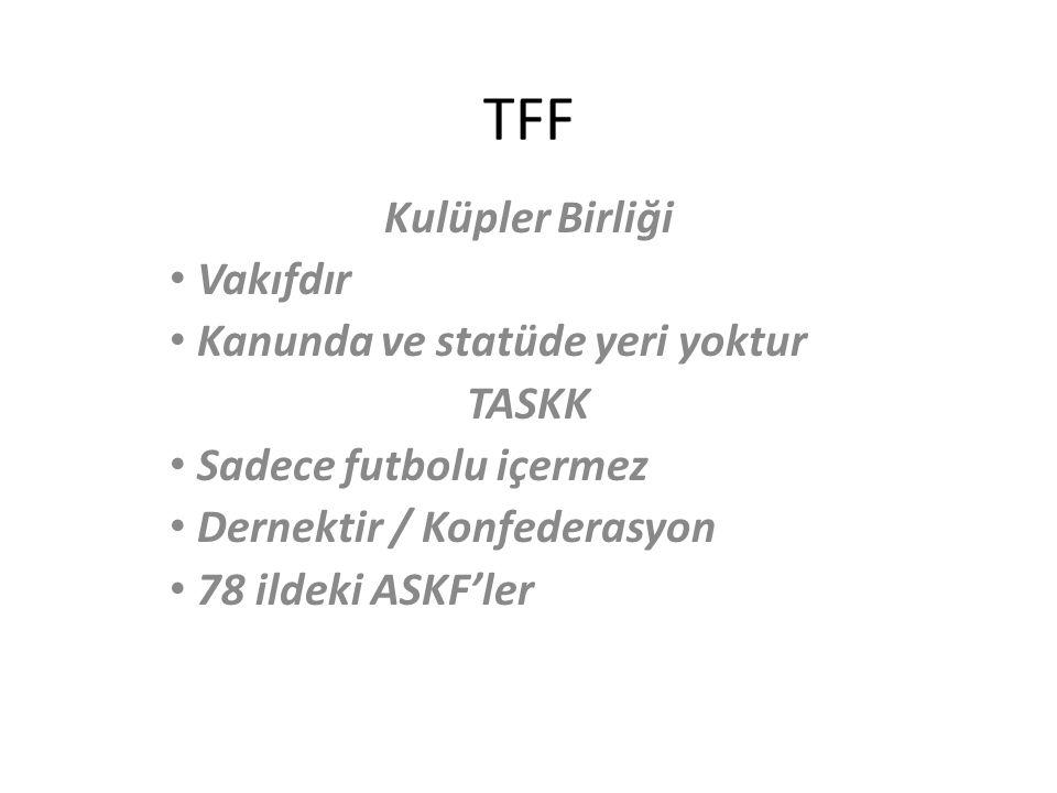 TFF Kulüpler Birliği Vakıfdır Kanunda ve statüde yeri yoktur TASKK Sadece futbolu içermez Dernektir / Konfederasyon 78 ildeki ASKF'ler