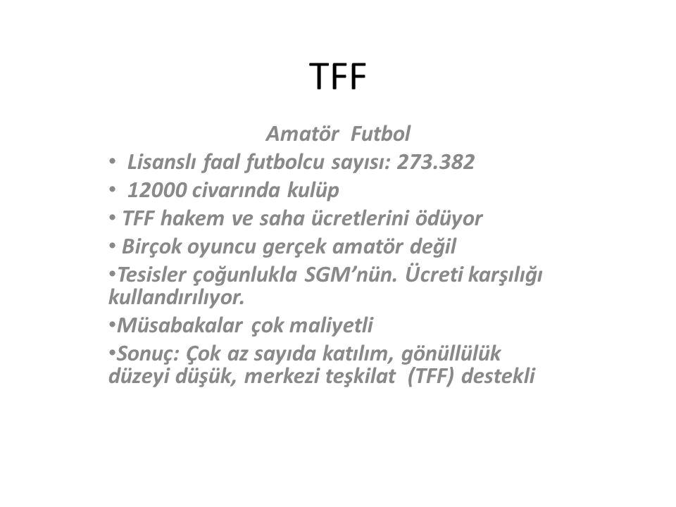 TFF Amatör Futbol Lisanslı faal futbolcu sayısı: 273.382 12000 civarında kulüp TFF hakem ve saha ücretlerini ödüyor Birçok oyuncu gerçek amatör değil Tesisler çoğunlukla SGM'nün.