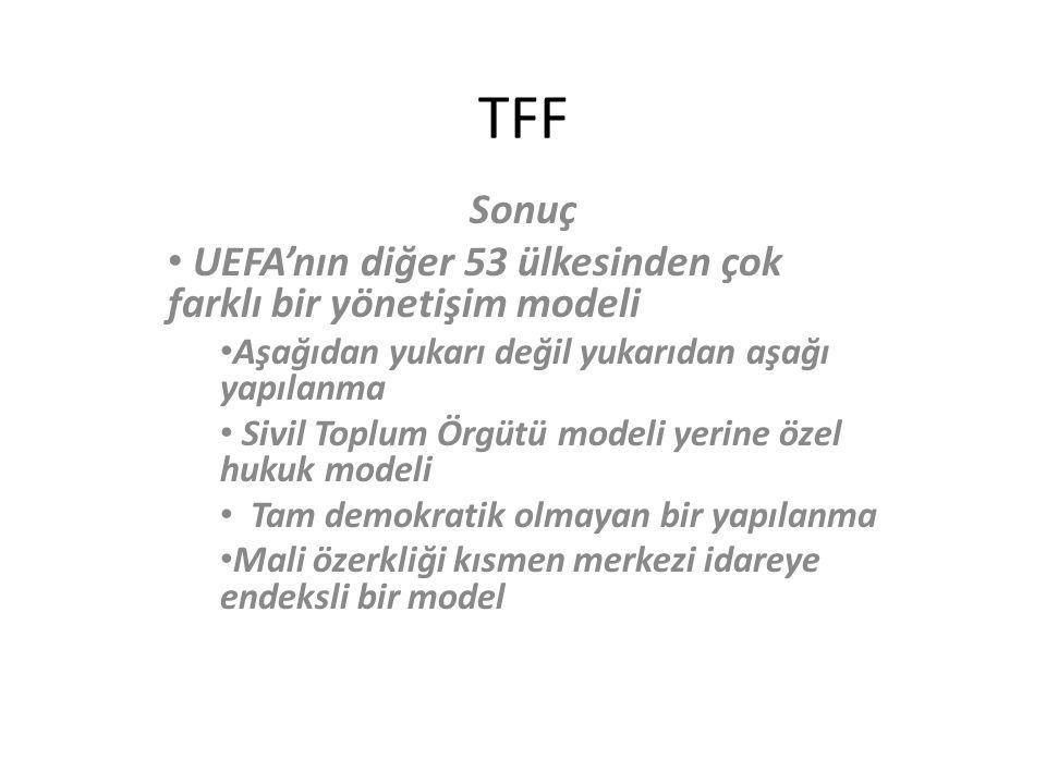 TFF Sonuç UEFA'nın diğer 53 ülkesinden çok farklı bir yönetişim modeli Aşağıdan yukarı değil yukarıdan aşağı yapılanma Sivil Toplum Örgütü modeli yerine özel hukuk modeli Tam demokratik olmayan bir yapılanma Mali özerkliği kısmen merkezi idareye endeksli bir model