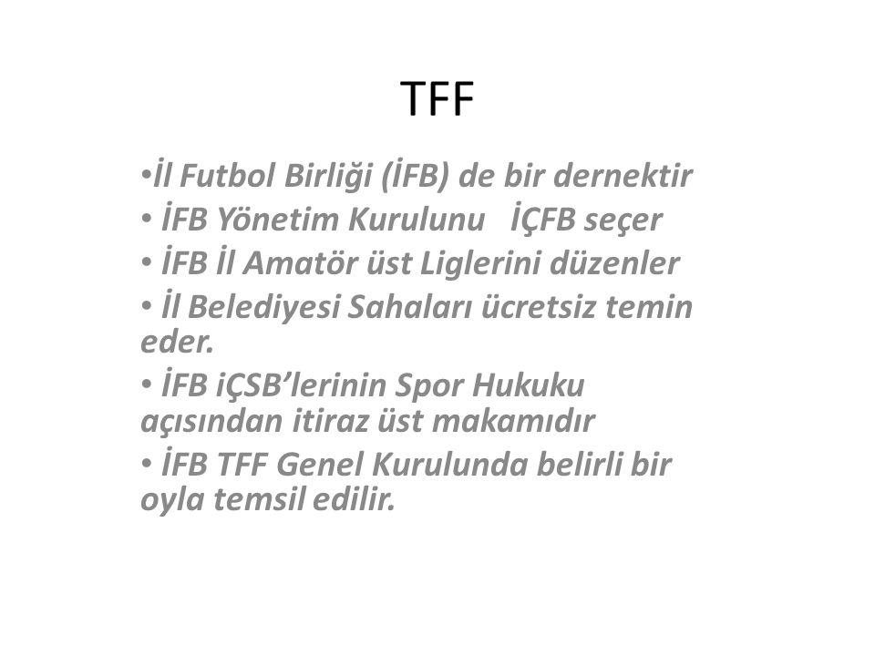 TFF İl Futbol Birliği (İFB) de bir dernektir İFB Yönetim Kurulunu İÇFB seçer İFB İl Amatör üst Liglerini düzenler İl Belediyesi Sahaları ücretsiz temin eder.