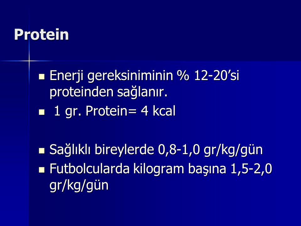 Protein Enerji gereksiniminin % 12-20'si proteinden sağlanır. Enerji gereksiniminin % 12-20'si proteinden sağlanır. 1 gr. Protein= 4 kcal 1 gr. Protei