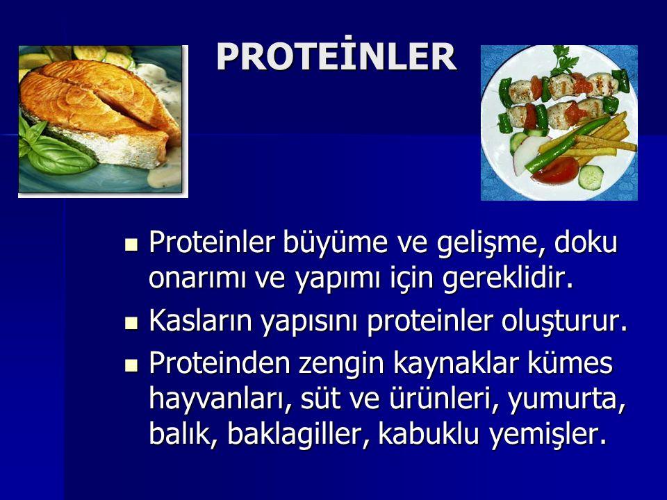 PROTEİNLER PROTEİNLER Proteinler büyüme ve gelişme, doku onarımı ve yapımı için gereklidir.