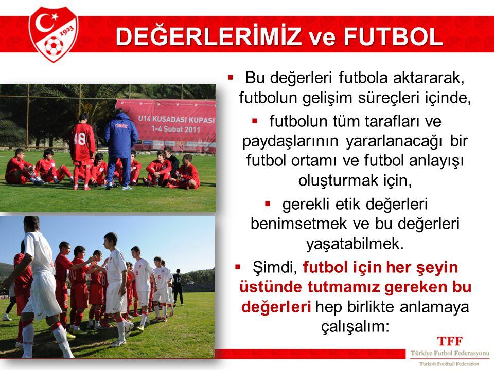 DEĞERLERİMİZ ve FUTBOL  Bu değerleri futbola aktararak, futbolun gelişim süreçleri içinde,  futbolun tüm tarafları ve paydaşlarının yararlanacağı bi