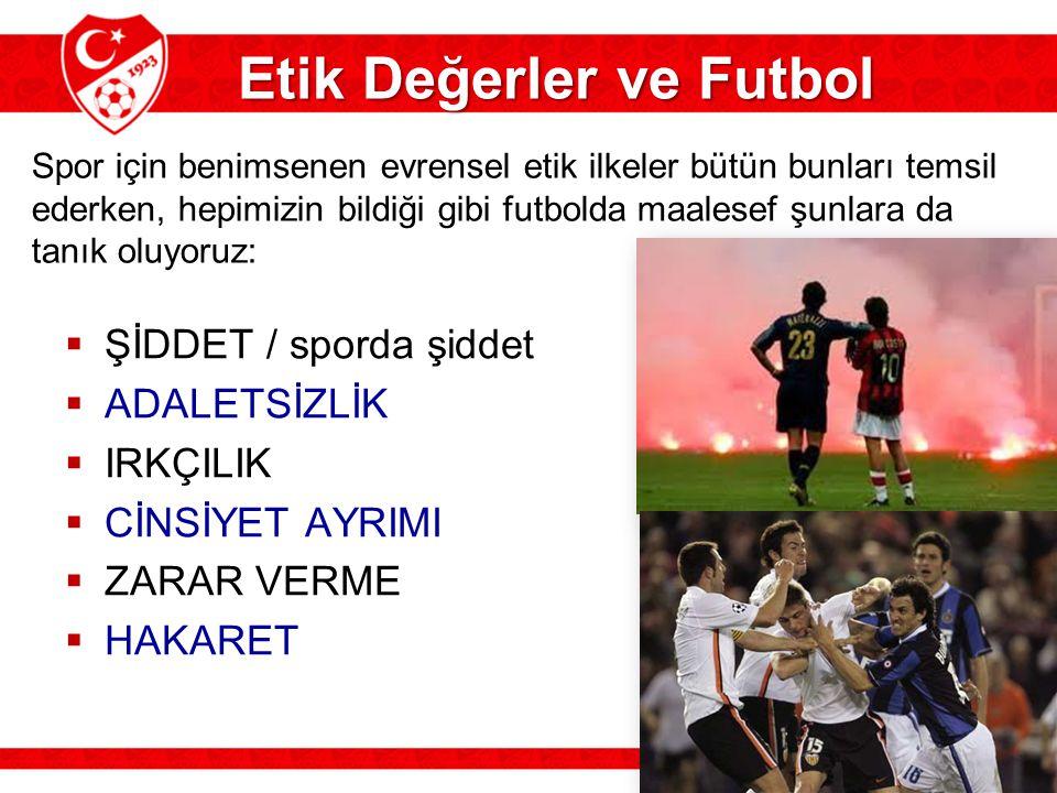  ŞİDDET / sporda şiddet  ADALETSİZLİK  IRKÇILIK  CİNSİYET AYRIMI  ZARAR VERME  HAKARET Etik Değerler ve Futbol Spor için benimsenen evrensel eti
