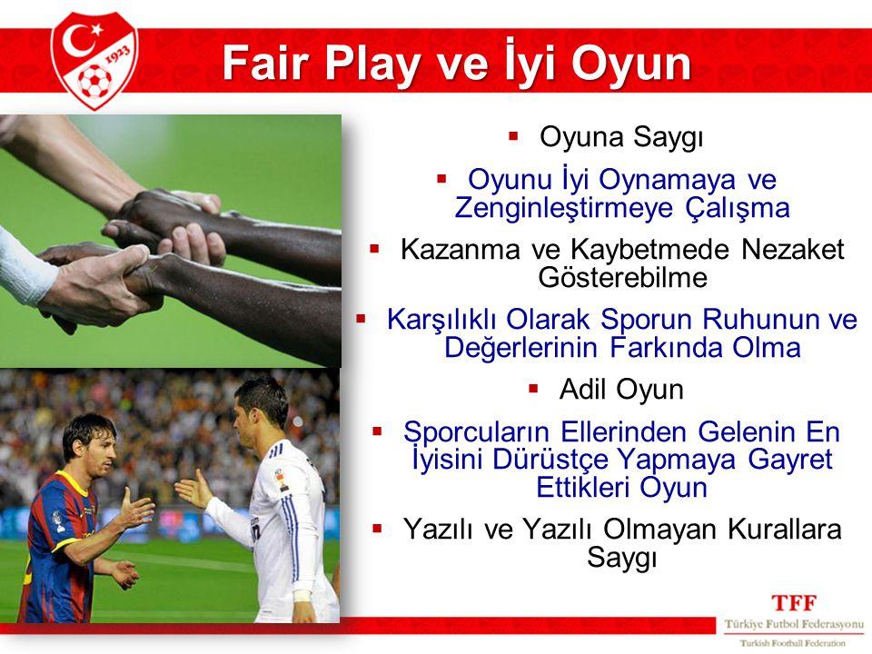 Fair Play ve İyi Oyun  Oyuna Saygı  Oyunu İyi Oynamaya ve Zenginleştirmeye Çalışma  Kazanma ve Kaybetmede Nezaket Gösterebilme  Karşılıklı Olarak