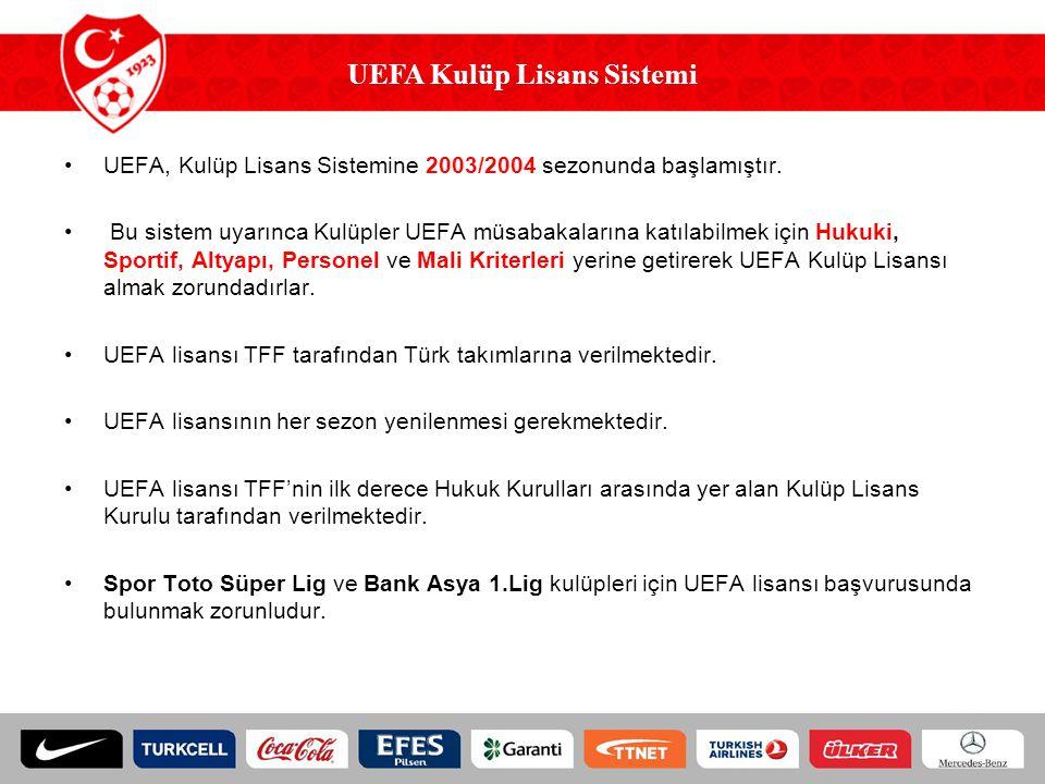 UEFA Kulüp Lisansı için Başvuran ve UEFA Kulüp Lisansı Alan Kulüpler SezonLisans İçin BaşvuranLisans Alan 2004-2005 Sezonu 2005-2006 Sezonu 2006-2007 Sezonu 2007-2008 Sezonu 2008-2009 Sezonu 2009-2010 Sezonu 2010-2011 Sezonu 30 22 25 24 28 29 7 9 11 14 7 8 7