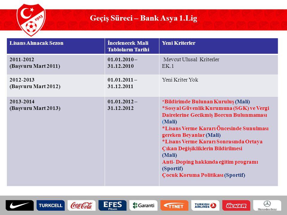 Geçiş Süreci – Bank Asya 1.Lig Lisans Alınacak Sezonİncelenecek Mali Tabloların Tarihi Yeni Kriterler 2011-2012 (Başvuru Mart 2011) 01.01.2010 – 31.12