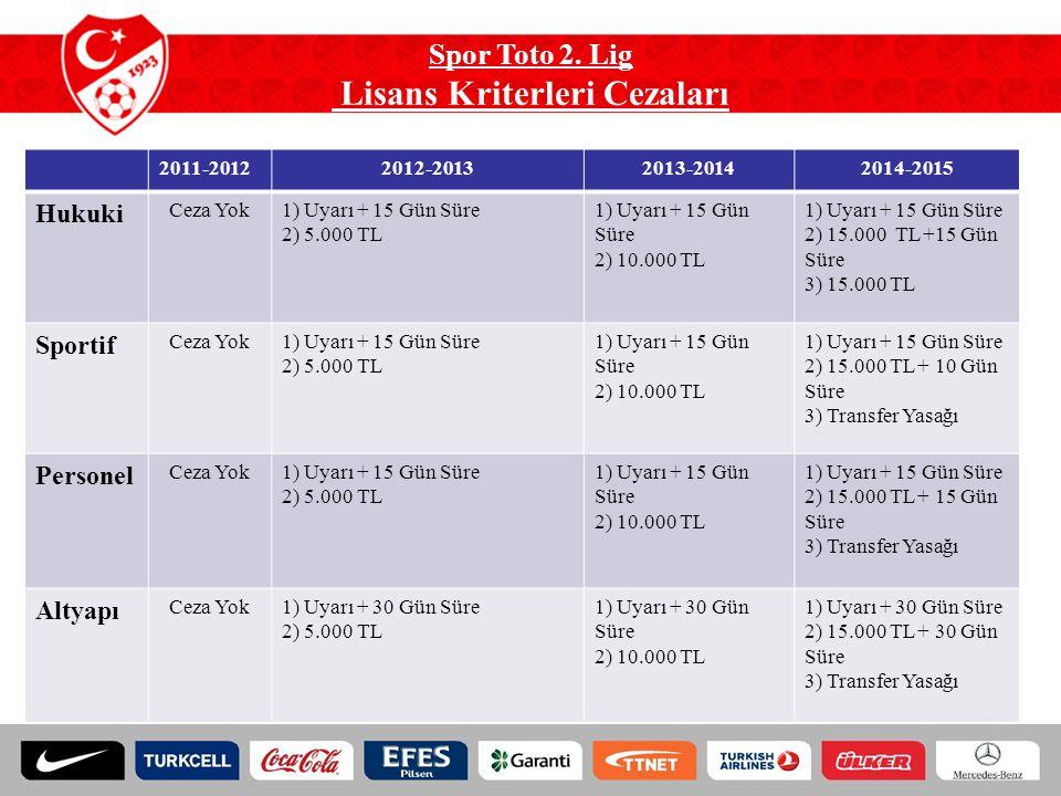 Spor Toto 2. Lig Lisans Kriterleri Cezaları 2011-20122012-20132013-20142014-2015 Hukuki Ceza Yok1) Uyarı + 15 Gün Süre 2) 5.000 TL 1) Uyarı + 15 Gün S