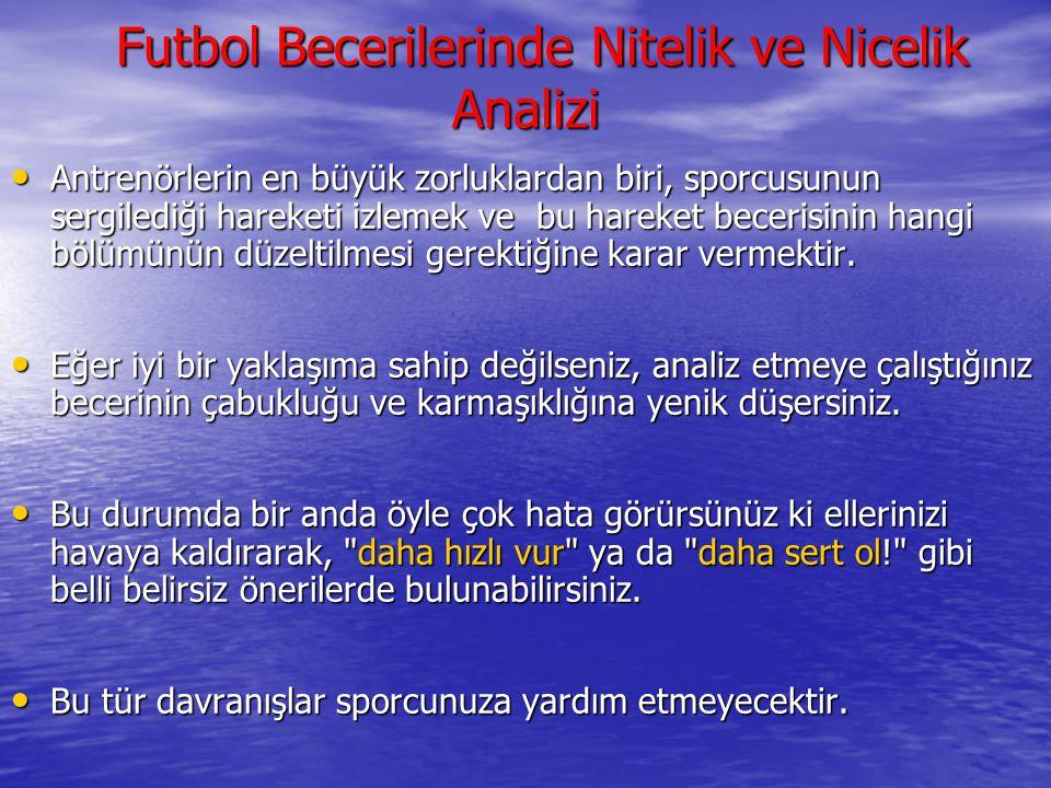 Futbol Becerilerinde Nitelik ve Nicelik Analizi Futbol Becerilerinde Nitelik ve Nicelik Analizi Antrenörlerin en büyük zorluklardan biri, sporcusunun