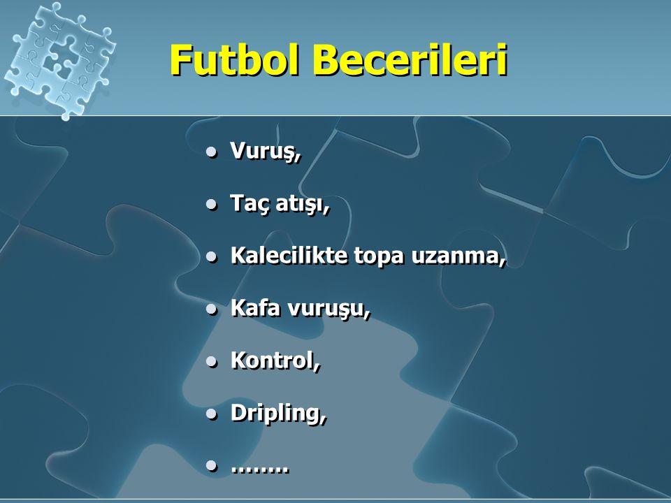 Futbol Becerileri Vuruş, Taç atışı, Kalecilikte topa uzanma, Kafa vuruşu, Kontrol, Dripling, ……..