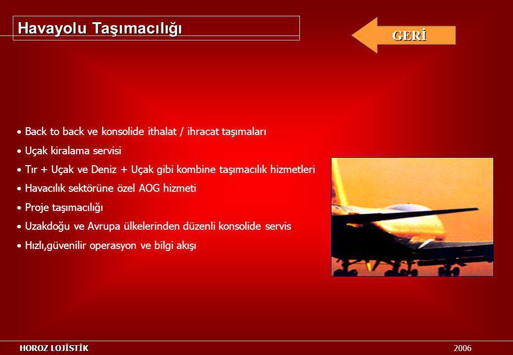 Havayolu Taşımacılığı GERİ Back to back ve konsolide ithalat / ihracat taşımaları Uçak kiralama servisi Tır + Uçak ve Deniz + Uçak gibi kombine taşıma