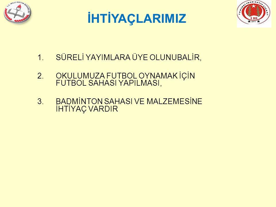 İHTİYAÇLARIMIZ 1.SÜRELİ YAYIMLARA ÜYE OLUNUBALİR, 2.