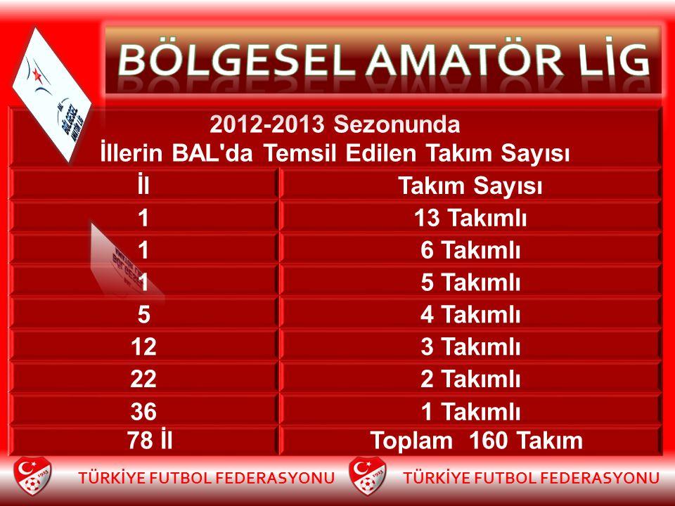 2012-2013 Sezonunda İllerin BAL'da Temsil Edilen Takım Sayısı İlTakım Sayısı 113 Takımlı 16 Takımlı 15 Takımlı 54 Takımlı 123 Takımlı 222 Takımlı 361