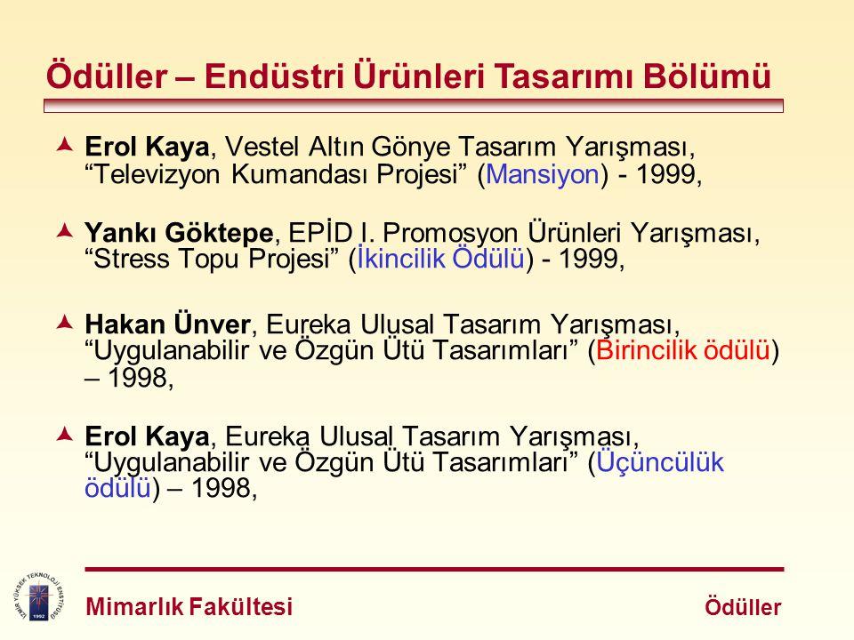 """ Erol Kaya, Vestel Altın Gönye Tasarım Yarışması, """"Televizyon Kumandası Projesi"""" (Mansiyon) - 1999,  Yankı Göktepe, EPİD I. Promosyon Ürünleri Yarış"""