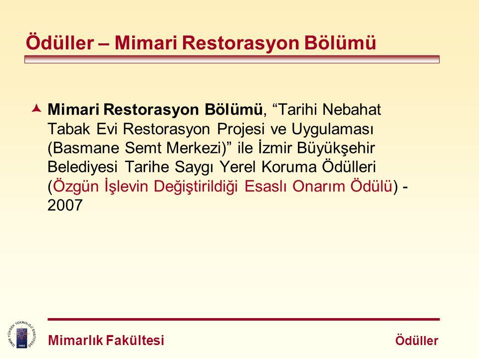 """ Mimari Restorasyon Bölümü, """"Tarihi Nebahat Tabak Evi Restorasyon Projesi ve Uygulaması (Basmane Semt Merkezi)"""" ile İzmir Büyükşehir Belediyesi Tarih"""