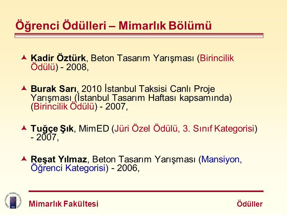  Kadir Öztürk, Beton Tasarım Yarışması (Birincilik Ödülü) - 2008,  Burak Sarı, 2010 İstanbul Taksisi Canlı Proje Yarışması (İstanbul Tasarım Haftası