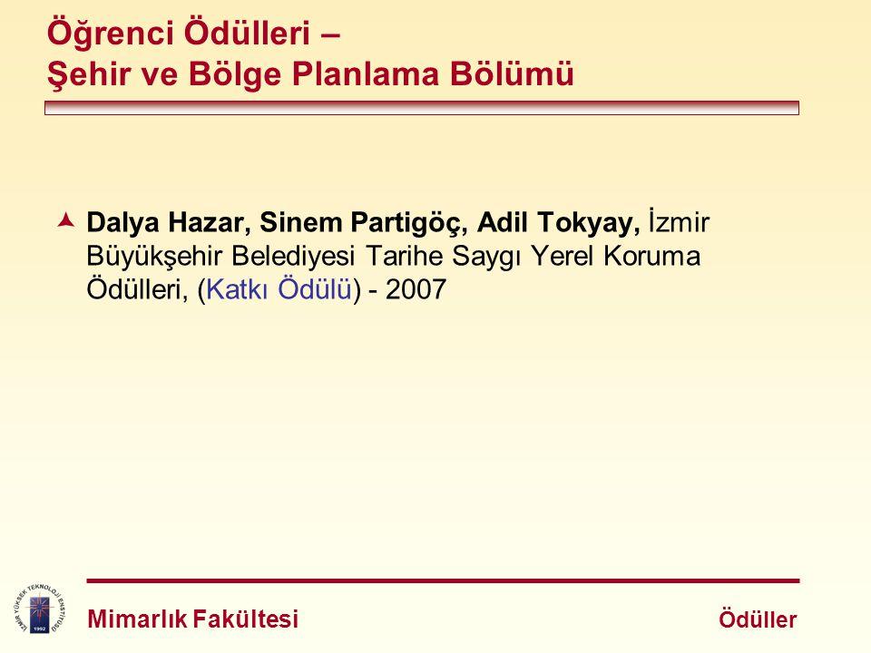  Dalya Hazar, Sinem Partigöç, Adil Tokyay, İzmir Büyükşehir Belediyesi Tarihe Saygı Yerel Koruma Ödülleri, (Katkı Ödülü) - 2007 Öğrenci Ödülleri – Şe