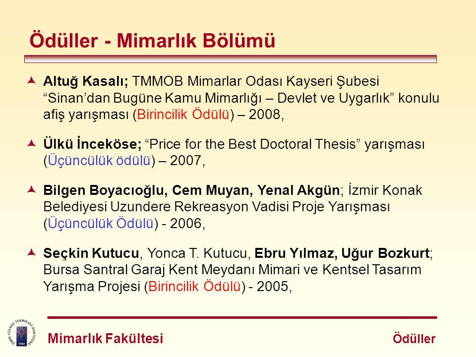  Kadir Öztürk, Beton Tasarım Yarışması (Birincilik Ödülü) - 2008,  Burak Sarı, 2010 İstanbul Taksisi Canlı Proje Yarışması (İstanbul Tasarım Haftası kapsamında) (Birincilik Ödülü) - 2007,  Tuğçe Şık, MimED (Jüri Özel Ödülü, 3.