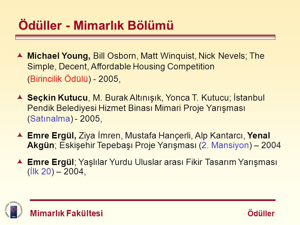 Ödüller - Mimarlık Bölümü  Michael Young, Bill Osborn, Matt Winquist, Nick Nevels; The Simple, Decent, Affordable Housing Competition (Birincilik Ödü