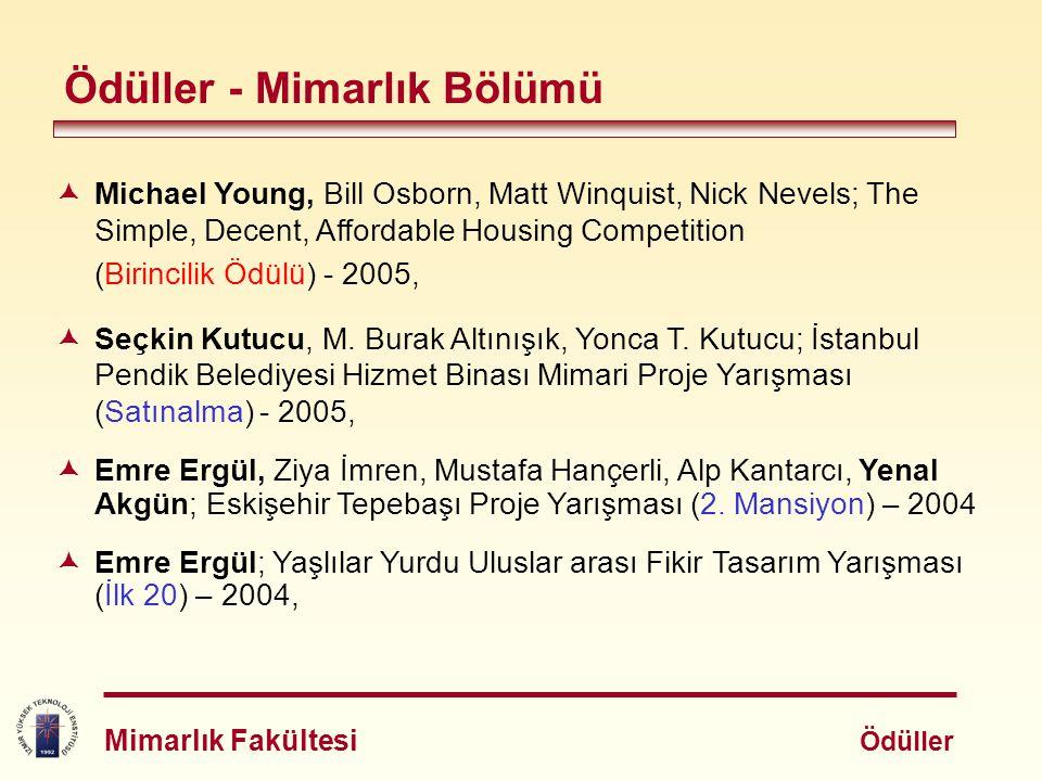 Ödüller - Mimarlık Bölümü  Michael Young, Bill Osborn, Matt Winquist, Nick Nevels; The Simple, Decent, Affordable Housing Competition (Birincilik Ödü