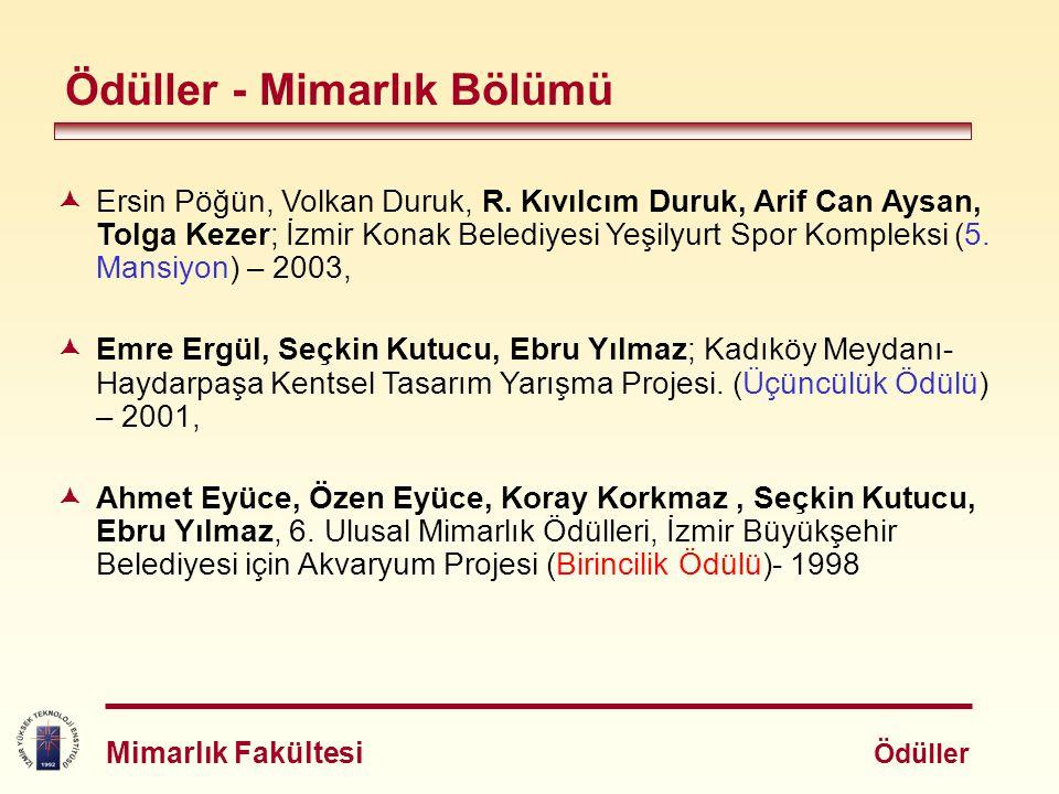 Ödüller - Mimarlık Bölümü  Ersin Pöğün, Volkan Duruk, R. Kıvılcım Duruk, Arif Can Aysan, Tolga Kezer; İzmir Konak Belediyesi Yeşilyurt Spor Kompleksi