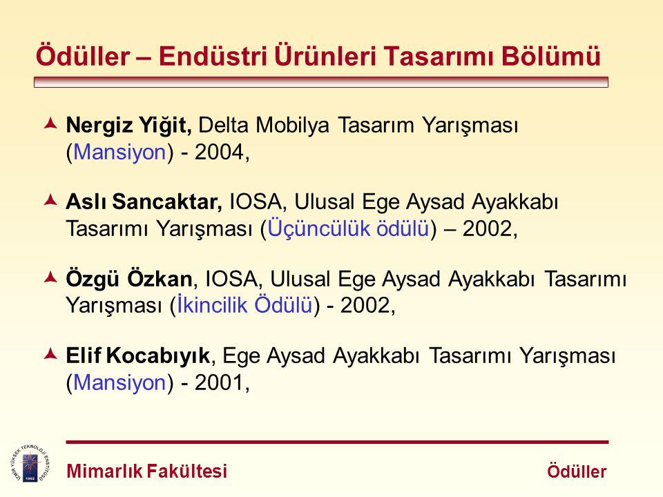  Nilüfer Talu, Beymen Academia: Ev Aksesuarları Kategorisinde Çay Seti Tasarımı (İlk üçte) - 2001,  Erol Kaya, Vestel Tasarım Yarışması (Üçüncülük ödülü) - 2001,  Erol Kaya, Vestel Tasarım Yarışması (Mansiyon) - 2001,  Yankı Göktepe, EPİD II.