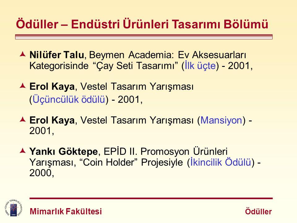 """ Nilüfer Talu, Beymen Academia: Ev Aksesuarları Kategorisinde """"Çay Seti Tasarımı"""" (İlk üçte) - 2001,  Erol Kaya, Vestel Tasarım Yarışması (Üçüncülük"""